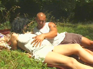 Fucking the face of his preggie dark-haired honey outdoors