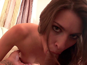 Victoria Lawson gives an amazing blowjob to a lucky stud
