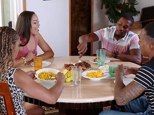 Big booty Adriana Maya cherished hardcore after dinner in group sex