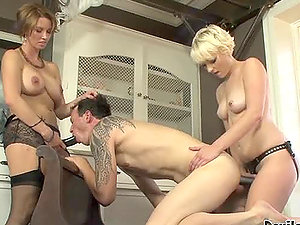 Two hot honey get to fuck this bisexual dude with a strapon