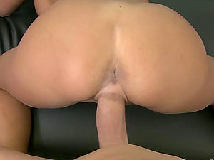 Point of view movie with horny black-haired getting fucked and facialed