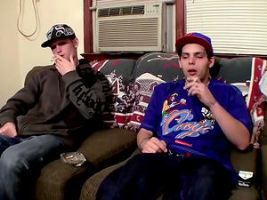 Drac and Nolan jerk off each other while taking a smoke