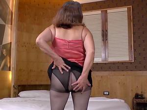Nice big and round latin granny playing with boobs and masturbating