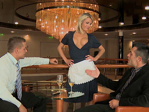 Laura Crystal offers her sexy curves to two handsome guys