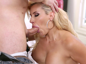 Hot blonde Savana Styles sucks a cock and rides it hard