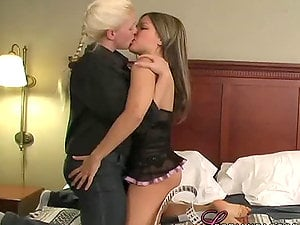 Big-chested ash-blonde honey gets down on her friend's cootchie