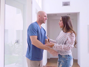 Abigail Mac is curious about a bald man's hard prick