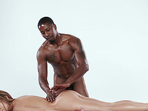 Oiled up chick Moka Mora enjoys a black man's massive boner
