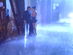 Whorey black-haired bitch gets booty fucked in the rain