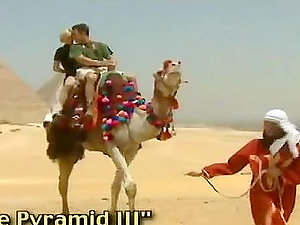 Two sexy ladies having gonzo romp with stud in Egyptian desert
