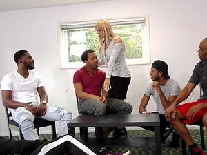 Sarah Vandella cannot resist a bunch of erected black dicks