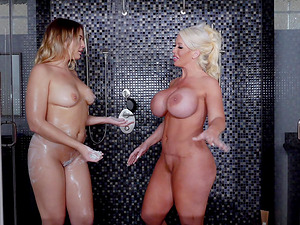 Blair Williams and Alura are glad to share a good-looking man's cock