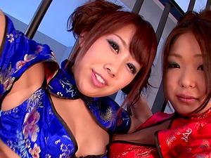Hiyoko Morinaga and Rin Kawai use a buzzing toy during a sex game