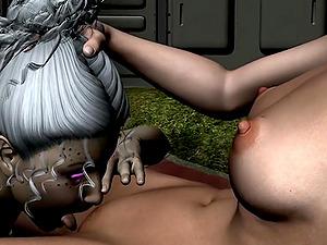Two lesbians having sex on a spaceship in internal garden