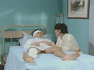 Two hot nurses cure a boy by sucking and railing his dick