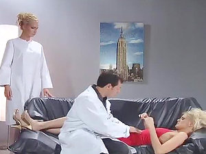 A doc and his nurse cure their sexy blonde patient