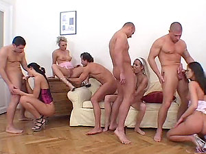Four Euro Sex industry stars Lovin? Four Hard Peckers in Amazing Orgy