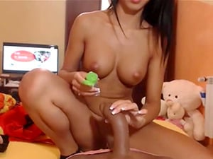 Hot beauty riding silicone cock toy