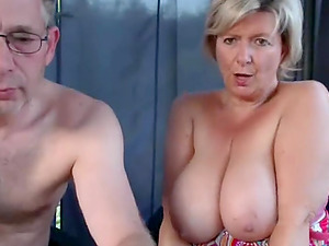 Horny old couple fucking on webcam