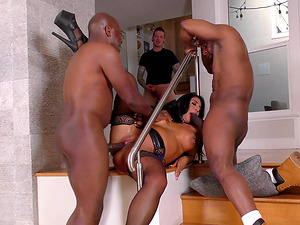 Two black dicks wrecking Raven Hart who has pierced nipples
