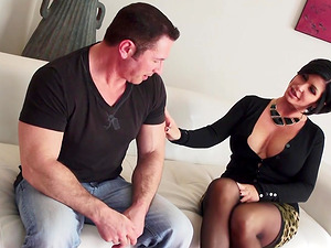 Shay Fox wearing black stockings and being in a FFM threesome
