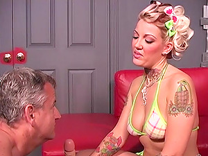 Candy Monroe gets her pussy drilled by a black guy while she moans