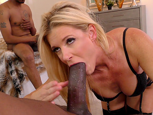 Blonde India Summer likes to moan while two black guys fuck her