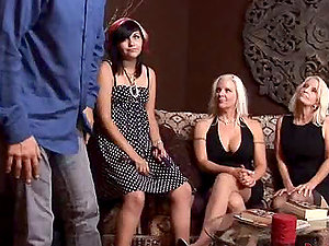 Xxx switch roles gang-fuck clip with three insatiable bitches