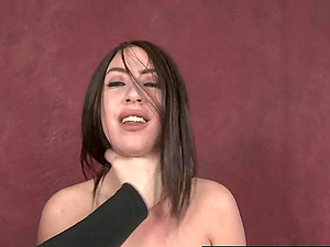 Sloppy babe kneels and chokes on cock