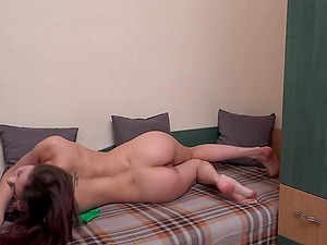This brunette chick Rebeka is very cute and guess what she gets naked