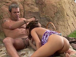 hot sex craving MILF August enjoys a dirty picknick with a good facial cumswallow ending
