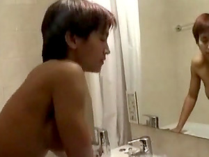 Sexy Asian girlfriend fucked in bathroom