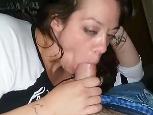 Amateur wife sucking big and fat boyfriends dick in point of view