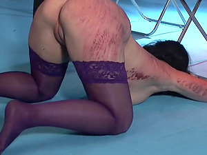 Two brunette babes get their butts punished while they moan