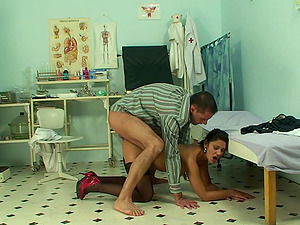Naughty doctor talks Tera Joy into playing with his hard cock