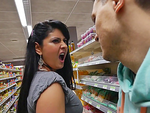 Brunette girl Angel4ever agrees to fuck with a friend in the store
