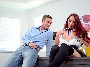 Good looking Ava Haze knows what a horny guy likes the most