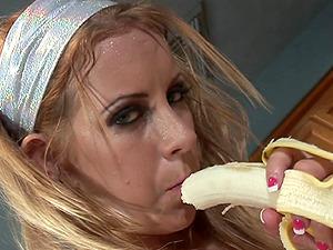 Nasty chick Desire Moore moans while she masturbates alone