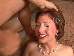 Horny Frankie Banks Cash deep throats tow schlongs and gets facialed