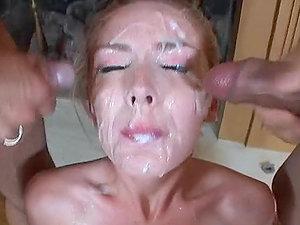 Pretty blonde Tobi fellates three pricks and gets a mass ejaculation
