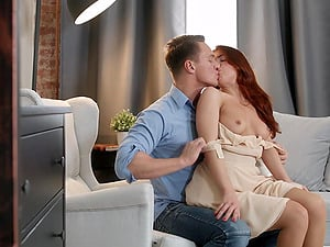 Russian bombshell Renata Fox is bent over and fucked on the couch