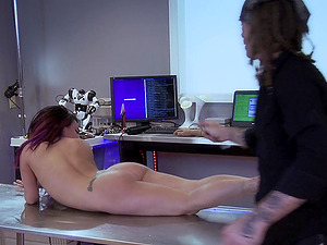 Handsome guy gets to bang a brunette sweetie while she moans