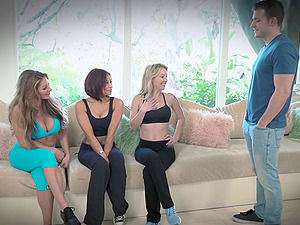 Handsome guy finally gets to bang Laura Bently and other girls at once