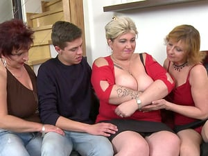 Two guys versus BBW Danny and her horny girlfriends