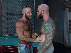 Tattooed gay guy makes a friend happy by fucking his small butt