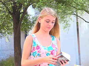 Blonde babe Hannah flashes her private parts in public