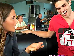 Molly Jane sucks her boyfriends cock in a public restaurant