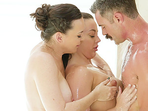 Oiled girls Dana Dearmond and her friend want to please a cock together
