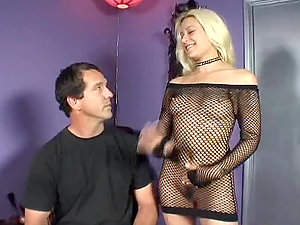 Blonde In Fishnet Attire Deep-throats Man sausage.