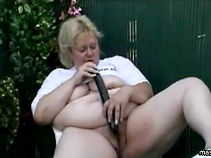 In my garden with super long dildo
